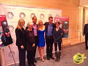 Left to right: Susan Eisenberg, Andrea Romano, Phil Morris, Olivia D'abo, Tim Daly, Lauren Montgomery