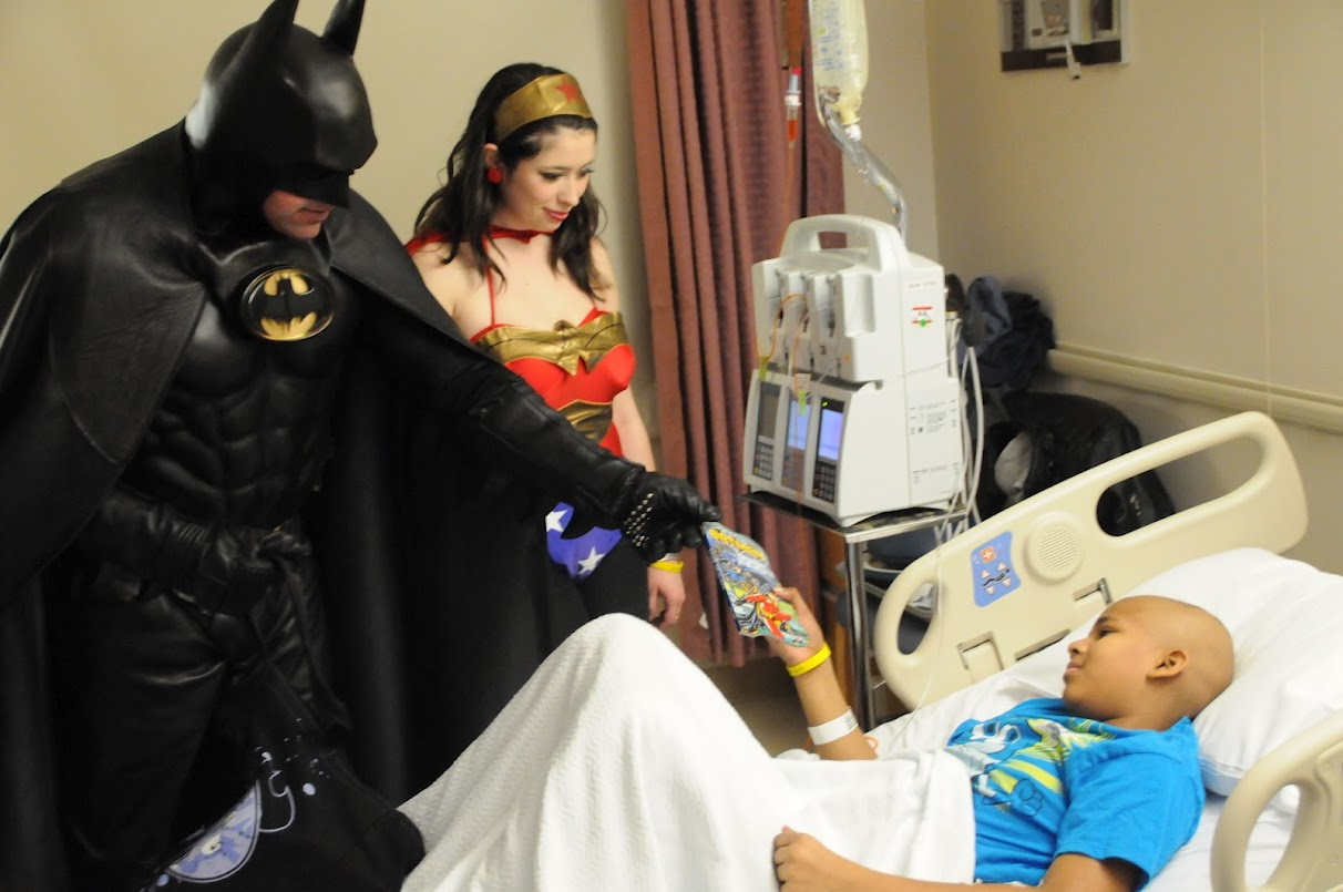 The Dark Knight joined Wonder Woman and Spiderman at Georgetown where their superhero powers comforted children fighting life-threatening illnesses.