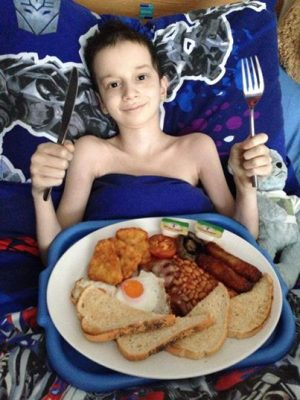 Reece, age 11, with Whetherspoons breakfast