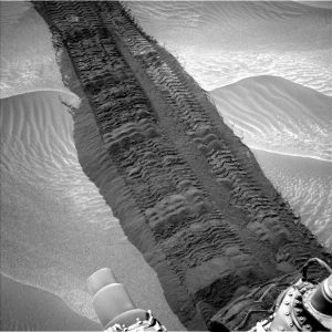 Fresh tracks in Hidden Valley help reveal this fun fact: The tire tracks on Curiosity leave a repeating pattern that can be used for visual reference to measure distance. Of course, the pattern spells out JPL in Morse code. (photo credit: JPL NASA)