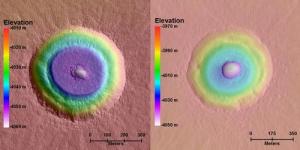 Digital Terrain Model (DTM) images of terraced craters on Mars (image credit: Ali Bramson)