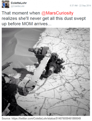 Scientists have fun captioning images from Curiosity. (Source: https://twitter.com/ColetteLohr/status/514076059461890049) (Image Credit: NASA/JPL-Caltech)