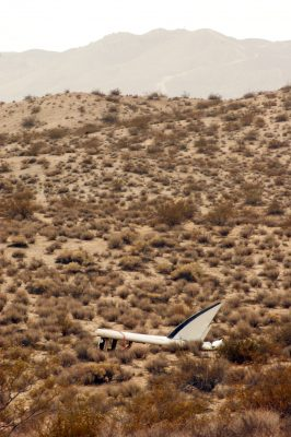 A tail piece from SpaceShipTwo debris field. Photo: Laura Davis