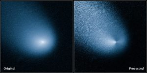comet C/2013 A1, also known as Siding Spring, as captured by Wide Field Camera 3 on NASA's Hubble Space Telescope.