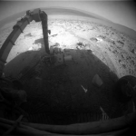 RAW image from the Back to Front Hazcam, Sol 3800 (Image Credit: NASA/JPL-Caltech)