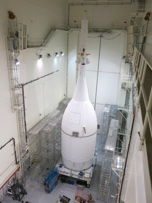 NASA's Orion spacecraft, completed Thursday, October 30, 2014, pictured in the Launch Abort System Facility at NASA's Kennedy Space Center in Florida. (Image Credit: Lockheed Martin)