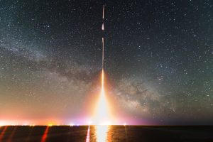 A time-lapse photograph of the CIBER rocket launch, taken from NASA's Wallops Flight Facility in Virginia on June 5, 2013. This was the last of four launches of CIBER. Photo courtesy of NASA.