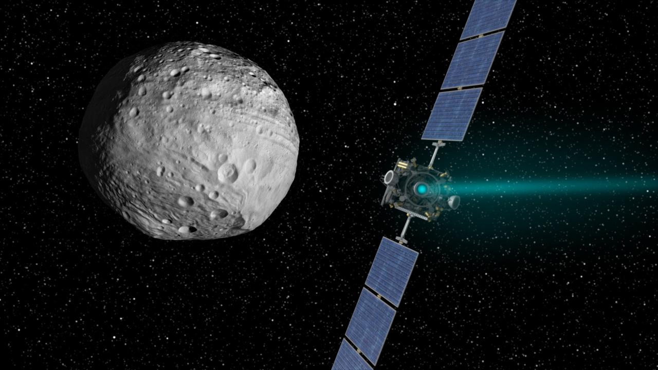 Dawn approaches Vesta
