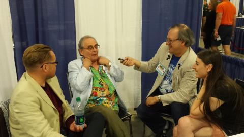 Mark Baumgarten of MarkWho42's WHOniverse interviewing Sylvester McCoy and David John at the 2015 Shock Pop Comic Con in Ft. Lauderdale, Florida.